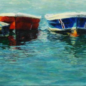 Trois petites embarcations et un imperméable / Three small boats and a raincoat - 12 X 24