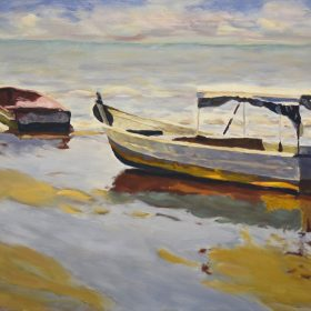 L'attente avant la pêche/ Waiting for fishing Huile sur toile/ Oil on canvas 16 x 20