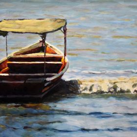 La barque rouge / The red small boat Huile sur toile / Oil on canvas 16 X 20