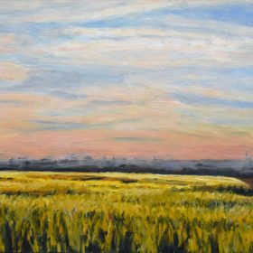 Champ au crépuscule/ Field at sunset Huile sur toile/ Oil on canvas 12 X 24