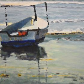 Barque sur la plage/ Boat on the beach Huile sur toile / Oil on canvas 16 X 20